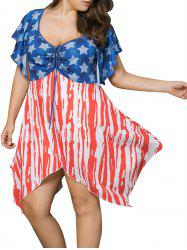Plus Size Asymmetric Patriotic American Flag Print Dress -