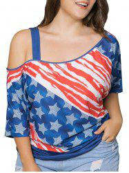 Plus Size Cold Shoulder American Flag Print Top