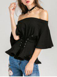 Off The Shoulder Lace Up Blouse