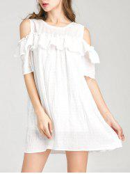 Ruffle Layer Robe épaule froid - Blanc