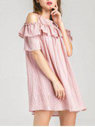 Cold Shoulder Layer Ruffles Tunic Casual Dress - PINK S