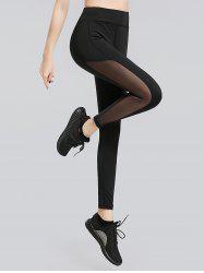 Sheer Mesh Panel Work Out Leggings - BLACK