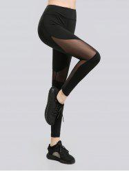 See Through Mesh Work Out Leggings - BLACK