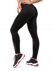 High Rise Compression Mesh Workout Leggings - BLACK