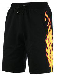 Side Fire Graphic Print Drawstring Sweat Shorts - BLACK