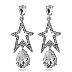 Faux Gemstone Rhinestone Star Teardrop Earrings