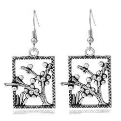 Alloy Plant Rectangle Dangle Earrings