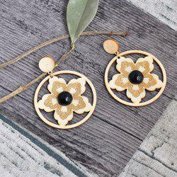 Circle Flower Wooden Earrings