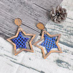 Star Vintage Wooden Earrings