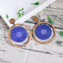Circle Vintage Wooden Drop Earrings