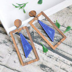 Vintage Triangle Rectangle Wooden Drop Earrings -