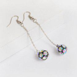 Rhinestone Long Chain Ball Hook Earrings - MULTICOLOR