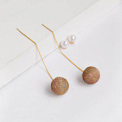 Faux Pearl Ball Long Chain Drop Earrings
