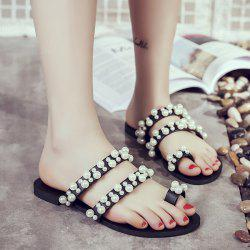 Toe Ring Faux Pearls Slippers - BLACK
