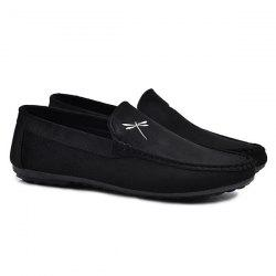 Stitching Embroidery Casual Shoes - BLACK