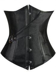 Lace-Up Faux Leather Slimming Corset - BLACK S