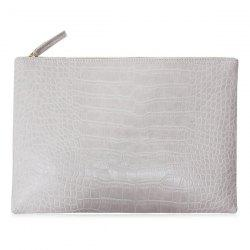 Crocodile Embossed Faux Leather Clutch Bag -