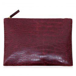 Crocodile Embossed Faux Leather Clutch Bag