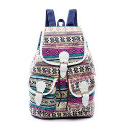 Tribal Print Buckles Canvas Backpack - PURPLE