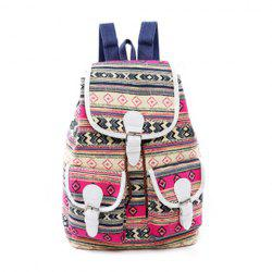 Tribal Print Buckles Canvas Backpack - ROSE RED