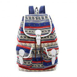 Tribal Print Buckles Canvas Backpack - BLUE