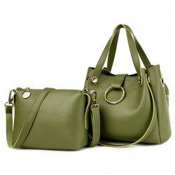 Metal Ring Handbag and Crossbody Bag - GREEN