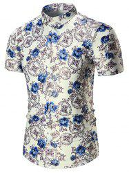 Plus Size Floral Short Sleeve Shirt - BLUE