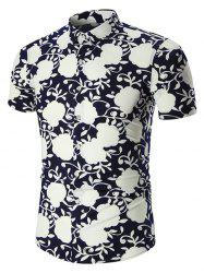 Plus Size Short Sleeve Hawaiian Shirt - PURPLISH BLUE