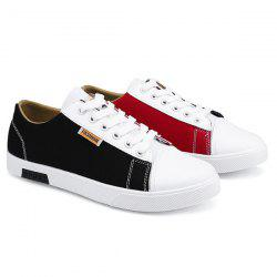 Tie Up Color Block Canvas Shoes - BLACK RED