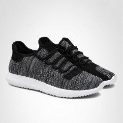 Color Block Mesh Breathable Athletic Shoes - BLACK