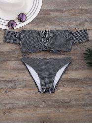 Off The Shoulder Polka Dot Lace Up Bikini