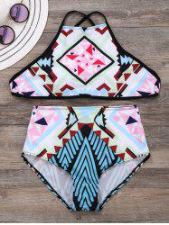 Criss Cross Geometric Print Bikini Set