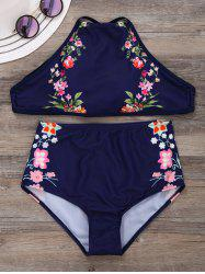 Criss Cross Floral High Neck Swimsuit Bikini