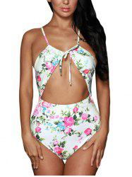 Cut Out Cross Back Floral Swimsuit