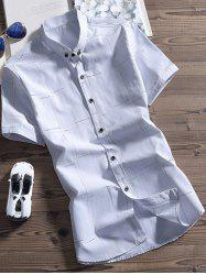 Button Down Dashed Lines Pattern Shirt