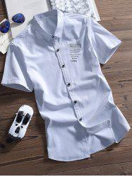 Button Up Letters Printed Shirt