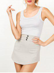 Sleeveless Two Tone Mini Bodycon Sundress - GREY AND WHITE