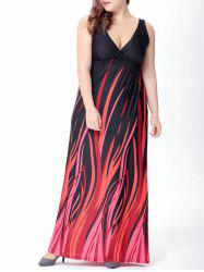 Plus Size Plunge Long Empire Waist Formal Dress - BLACK