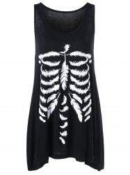 Skeleton Feather Print Tank Top