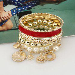 Faux Pearl Coin Charm Beaded Bangle Bracelet Set
