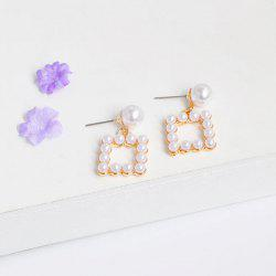 Artificial Pearl Square Earrings
