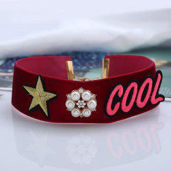 Faux Pearl Cool Star Embroidery Choker Necklace