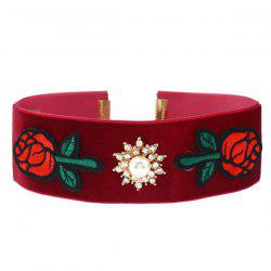 Rhinestone Rose Flower Embroidery Choker