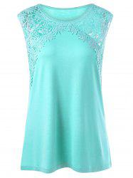 Plus Size Lace Panel Longline Tank Top