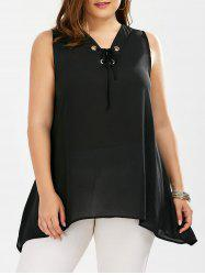Sleeveless Lace Up Plus Size Blouse