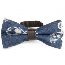 Skull Pattern Denim Layer Bow Tie