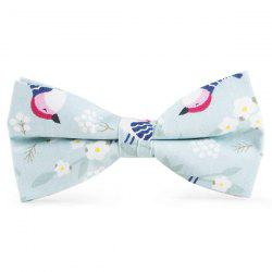 Floral Bird Printed Bow Tie - LIGHT BLUE