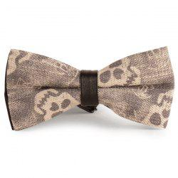 Nostalgic Skull Printing Denim Layered Bow Tie