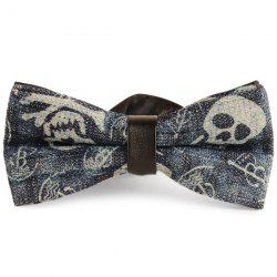 Nostalgic Skull Printing Denim Layered Bow Tie - CADETBLUE