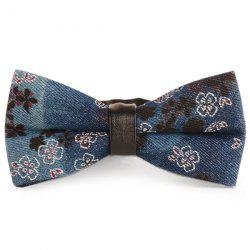 Layered Tiny Floral Printing Denim Bow Tie - CADETBLUE